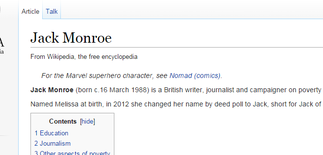 From the Wikipedia entry for Jack Monroe.